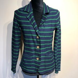 Tahari Blue and Green Striped Blazer Size Medium